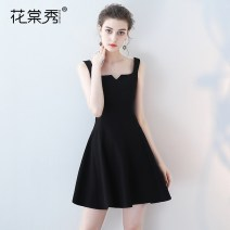 Dress / evening wear Weddings, adulthood parties, company annual meetings, daily appointments black Korean version Short skirt middle-waisted Summer 2017 Skirt hem Sling type zipper 18-25 years old Sleeveless Solid color Huatangxiu other Polyester 80% other 20% Pure e-commerce (online only) other