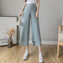 Casual pants Grey blue white black purple S M L XL Summer 2020 Ninth pants Wide leg pants High waist Sweet Thin money 18-24 years old GNQ-276Q Gonaki other Other 100%
