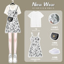 Dress Summer 2021 White short sleeve pure white [single piece] short floral skirt [single piece] white short sleeve pure white + short floral skirt S M L XL Middle-skirt Two piece set Short sleeve commute Crew neck middle-waisted Broken flowers Socket A-line skirt routine camisole 18-24 years old