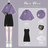 Dress Summer 2021 Purple shirt [single piece] 829 black suspender skirt [single piece] purple shirt + 829 black suspender skirt S M L XL Short skirt Two piece set Short sleeve commute Polo collar High waist Solid color Socket A-line skirt camisole 18-24 years old Type A Germs Korean version