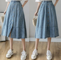 skirt Summer 2020 S,XL,L,M blue Middle-skirt Versatile A-line skirt Solid color Type A 25-29 years old other Splicing