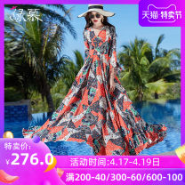 Dress Summer 2020 Decor S M L XL XXL XXXL longuette singleton  elbow sleeve commute V-neck middle-waisted Decor Socket Big swing other Others 30-34 years old Type A Green Mousse Retro Ruffle pleated zipper print LYQ-20267-2 More than 95% Chiffon polyester fiber Polyester 98% other 2%