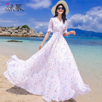 Dress Summer of 2019 Small flower on white background S M L XL XXL XXXL longuette singleton  Short sleeve commute V-neck middle-waisted Broken flowers Socket Big swing pagoda sleeve Others 25-29 years old Type X Green Mousse lady Ruffle pleated zipper print More than 95% Chiffon polyester fiber