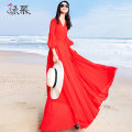Dress Summer of 2019 gules S M L XL XXL XXXL longuette singleton  three quarter sleeve Sweet V-neck middle-waisted Solid color Socket Big swing pagoda sleeve Others 25-29 years old Type X Green Mousse More than 95% Chiffon polyester fiber Polyester 99% other 1% Bohemia Exclusive payment of tmall