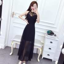 Dress Summer of 2019 Blue, black, red S,M,L longuette singleton  Sleeveless commute Crew neck High waist Solid color Socket One pace skirt routine Hanging neck style 18-24 years old Type A Ruo Manqi lady Gouhua, hollow out, stitching, zipper, lace R3L376# More than 95% brocade polyester fiber