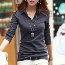 T-shirt S,M,L,XL,2XL,3XL Autumn of 2019 Long sleeves Polo collar Self cultivation Regular routine commute cotton 86% (inclusive) -95% (inclusive) 25-29 years old Korean version classic Solid color