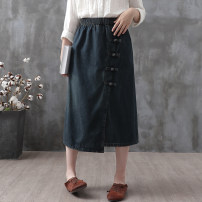skirt Autumn 2020 L XL Light blue dark blue Mid length dress commute Natural waist A-line skirt Solid color Type A 30-34 years old ML11958 More than 95% Feather embroidery other Button Retro Other 100% Pure e-commerce (online only)
