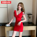 Dress Spring 2020 Black white red S ml XL XXL more customized XXL Short skirt singleton  Short sleeve commute V-neck Elastic waist Solid color Socket One pace skirt routine Others 25-29 years old Type H Fufei lady Fringes and open back folds FFX1607 More than 95% polyester fiber