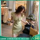 Dress Summer 2021 Floral skirt S,M,L Short skirt singleton  Short sleeve commute square neck High waist Broken flowers A-line skirt puff sleeve Others bow CL000457 51% (inclusive) - 70% (inclusive) other