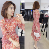 Dress Spring 2021 gules S,M,L,XL Mid length dress singleton  Long sleeves street Crew neck High waist Decor Socket A-line skirt routine Type A bobowaltz 71% (inclusive) - 80% (inclusive) other Europe and America