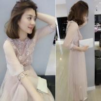 Dress Spring 2021 Pink S,M,L,XL Mid length dress singleton  elbow sleeve street High waist routine Others bobowaltz B182k00772p Europe and America