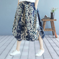 Casual pants 1, 2, 3, 4, 5, 6, 7, 8 Average size Spring 2020 Cropped Trousers Wide leg pants High waist commute routine 30-34 years old SYS20X2380# SUISA Cotton blended fabric Korean version printing and dyeing cotton Cotton 88% flax 12% Pure e-commerce (online only)