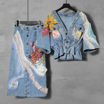 Fashion suit Summer 2021 S M L XL 2XL Blue (two piece set) Over 35 years old Duo Yue Other 100% Pure e-commerce (online only)