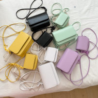 Bag Inclined shoulder bag PU Small square bag PREVADAZA brand new Japan and South Korea Small leisure time hard Magnetic buckle no Solid color Single root One shoulder portable messenger nothing youth Horizontal square chain synthetic leather soft surface Before 2011