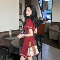 Dress Summer of 2019 Red, black S,M,L,XL Middle-skirt singleton  Short sleeve commute Crew neck High waist Solid color Socket A-line skirt routine Others 18-24 years old Type A Other / other Korean version Splicing