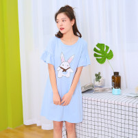 Nightdress Chieti  Light blue 155(S) 160(M) 165(L) 170(XL) Cartoon Short sleeve Leisure home Middle-skirt summer Cartoon animation youth Crew neck cotton Lotus leaf edge More than 95% pure cotton 200g and below Summer of 2018 Cotton 100% Pure e-commerce (online only)