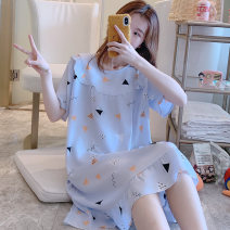Nightdress Good west 160M 165L 170XL 175XXL Simplicity Short sleeve pajamas Middle-skirt summer other youth Crew neck viscose  printing More than 95% Silk Mzs cotton skirt-129347 200g and below Spring 2020 Viscose (viscose) 100% Pure e-commerce (online only)