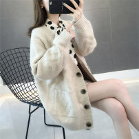 Wool knitwear Spring 2020 S M L XL Pink apricot yellow blue Long sleeves singleton  Cardigan other More than 95% Regular routine commute Straight cylinder V-neck routine Solid color Single breasted Korean version KY5245AG 25-29 years old Kou language Pocket button Other 100%