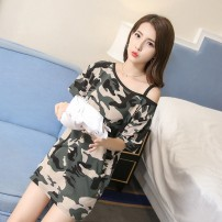 Dress Summer 2020 M,L,XL,XXL Middle-skirt singleton  Short sleeve commute Crew neck Socket routine Oblique shoulder 18-24 years old Korean version other