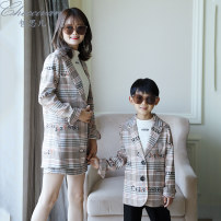 Parent child fashion A family of three neutral Checcivan C93041500 spring and autumn leisure time routine C93041500 Cotton 100% Class B Autumn of 2019