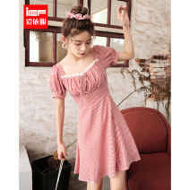 Dress Summer 2020 Apricot red and apricot black XS S M L Middle-skirt singleton  Short sleeve commute square neck High waist lattice Socket A-line skirt routine Others 18-24 years old IEF / aiyifu Korean version 1507A-D5083- 31% (inclusive) - 50% (inclusive) cotton Cotton 50% polyester 50%