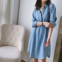 Dress Summer 2020 Blue stripe S,M,L Mid length dress singleton  Long sleeves High waist stripe Socket routine Other / other
