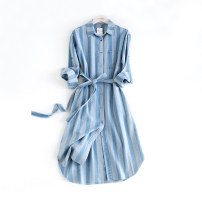 Dress Summer 2020 S,M,L Mid length dress singleton  three quarter sleeve High waist Single breasted routine Other / other