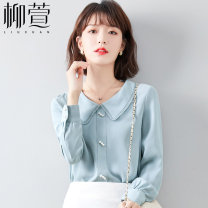 Lace / Chiffon Spring 2021 blue S M L XL 2XL Long sleeves commute Cardigan singleton  Straight cylinder Regular Doll Collar Solid color shirt sleeve 25-29 years old Liu Xuan LXCXY645 Three dimensional decorative wave button 3D resin fixation Korean version 96% and above Other 100%