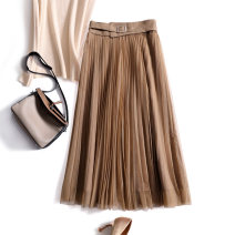 skirt Spring 2021 S,M,L,XL,2XL Khaki, black Mid length dress Versatile High waist Pleated skirt Solid color Type A More than 95% other