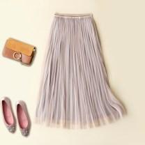 skirt Summer 2020 Average size Black, gray, bare powder Mid length dress Versatile High waist Pleated skirt Type A Other / other