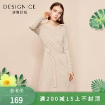Dress Spring of 2019 Black, cream white S,M,L,XL,XXL Mid length dress singleton  Long sleeves Crew neck High waist A-line skirt routine 25-29 years old Designice / desennis Fold, splice D8118Z6792 other