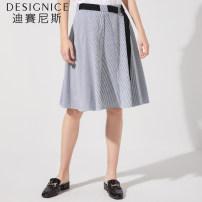 skirt Summer of 2018 S/155,M/160,L/165,XL/170 stripe Mid length dress commute High waist stripe 25-29 years old T8221Z2226 51% (inclusive) - 70% (inclusive) Designice / desennis polyester fiber Korean version