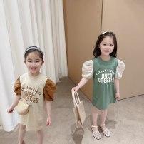 Dress female 90cm,100cm,110cm,120cm,130cm Cotton 100% summer leisure time Short sleeve letter cotton Splicing style 2 years old, 3 years old, 4 years old, 5 years old, 6 years old, 7 years old, 8 years old Chinese Mainland