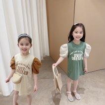 Dress female 90cm,100cm,110cm,120cm,130cm Cotton 100% summer leisure time Short sleeve letter cotton Splicing style 2 years old, 3 years old, 4 years old, 5 years old, 6 years old, 7 years old, 8 years old Chinese Mainland