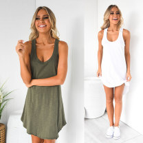 Dress Summer of 2019 Black, white, army green S,M,L,XL Mid length dress singleton  Sleeveless street other Loose waist Solid color Socket other other straps 25-29 years old Type H backless 31% (inclusive) - 50% (inclusive) other cotton Europe and America