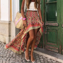 skirt Spring 2021 S,M,L,XL Blue, red longuette street Natural waist Irregular Decor Type A 25-29 years old 31% (inclusive) - 50% (inclusive) other Other / other cotton printing Europe and America