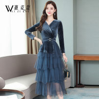 Dress Autumn of 2019 Black blue M L XL 2XL 3XL Mid length dress singleton  Long sleeves commute V-neck High waist Socket Cake skirt routine Others 30-34 years old Weizikou Korean version Three dimensional decorative mesh More than 95% polyester fiber Polyester 97% other 3%