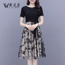 Dress Summer 2021 black S M L XL 2XL Mid length dress Fake two pieces Short sleeve commute Crew neck High waist Animal design Socket A-line skirt routine 30-34 years old Type A Weizikou Korean version More than 95% polyester fiber Polyester 97% other 3% Pure e-commerce (online only)