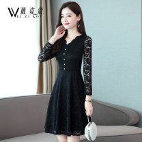 Dress Autumn of 2019 M L XL 2XL 3XL 4XL 5XL Mid length dress singleton  Long sleeves commute V-neck middle-waisted Solid color Socket A-line skirt routine Others 30-34 years old Weizikou Korean version Button lace More than 95% Lace polyester fiber Polyester 97% other 3% Pure e-commerce (online only)