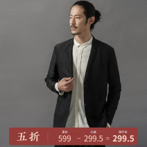 man 's suit black Travel Original other routine S,M,L,XL,2XL L273036 Flax 40% Cotton 30% mulberry silk 30% standard Triple single breasted Other leisure Double slit youth Long sleeves autumn routine Casual clothes Flat lapel Straight hem 2017