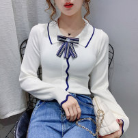 T-shirt White, stripe, random delivery of tail goods Average size Autumn 2020 Long sleeves Self cultivation Regular routine commute cotton 86% (inclusive) -95% (inclusive) 18-24 years old Korean version