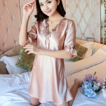 Nightdress Mu duo's Poems M L XL XXL 3XL luxurious three quarter sleeve pajamas Short skirt summer Solid color youth V-neck Polyester (polyester) lace 81% (inclusive) - 95% (inclusive) Iced silk 200g Spring 2017 Polyester 95% polyurethane elastic fiber (spandex) 5% Pure e-commerce (online only)
