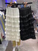 skirt Spring 2021 S, M White, black Mid length dress commute High waist other Decor 25-29 years old 51% (inclusive) - 70% (inclusive) other cotton