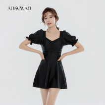 one piece  Auspicious bird M L XL Black swimsuit + mobile phone waterproof bag package Skirt one piece With chest pad without steel support Nylon polyester Winter 2020 no female Short sleeve Casual swimsuit Solid color Pleating