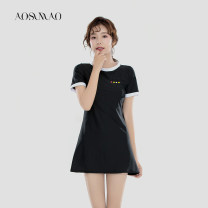 one piece  Auspicious bird Recommended weight: 94-108 kg (L) black Skirt one piece With chest pad without steel support Nylon spandex polyester Autumn 2020 no female Short sleeve Casual swimsuit Solid color