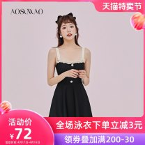 one piece  Auspicious bird M (recommended weight: 80-94 kg) l (recommended weight: 94-108 kg) XL (recommended weight: 108-120 kg) XXL (recommended weight: 120-135 kg) black Skirt one piece With chest pad without steel support Spandex polyester 2A040 Spring 2020 no female Sleeveless Casual swimsuit