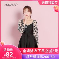 one piece  Auspicious bird Recommended weight: 94-108 kg (L) Black + mobile phone waterproof bag package Skirt one piece With chest pad without steel support Nylon spandex polyester Winter 2020 no female Long sleeves Casual swimsuit Solid color bow