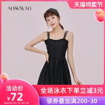 one piece  Auspicious bird M (recommended 80-94 kg) l (recommended 94-108 kg) XL (recommended 108-120 kg) the little sister with big chest suggests taking a bigger size~ Black swimsuit + mobile phone waterproof bag package Skirt one piece With chest pad without steel support Nylon spandex polyester