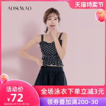 Split swimsuit Auspicious bird Skirt split swimsuit With chest pad without steel support Nylon spandex polyester Summer of 2019 no female Crew neck Sleeveless