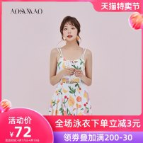 one piece  Auspicious bird Skirt one piece With chest pad without steel support Nylon polyester Summer of 2019 no female Sleeveless Casual swimsuit other Hollowing out